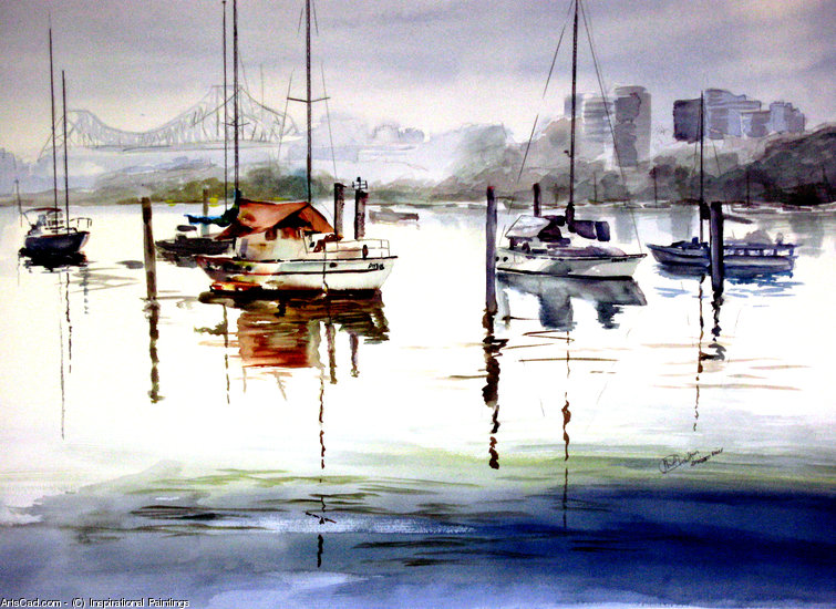 Oeuvre >> Inspirational Paintings >> RIVER BRISBANE DE EDWARD RUE