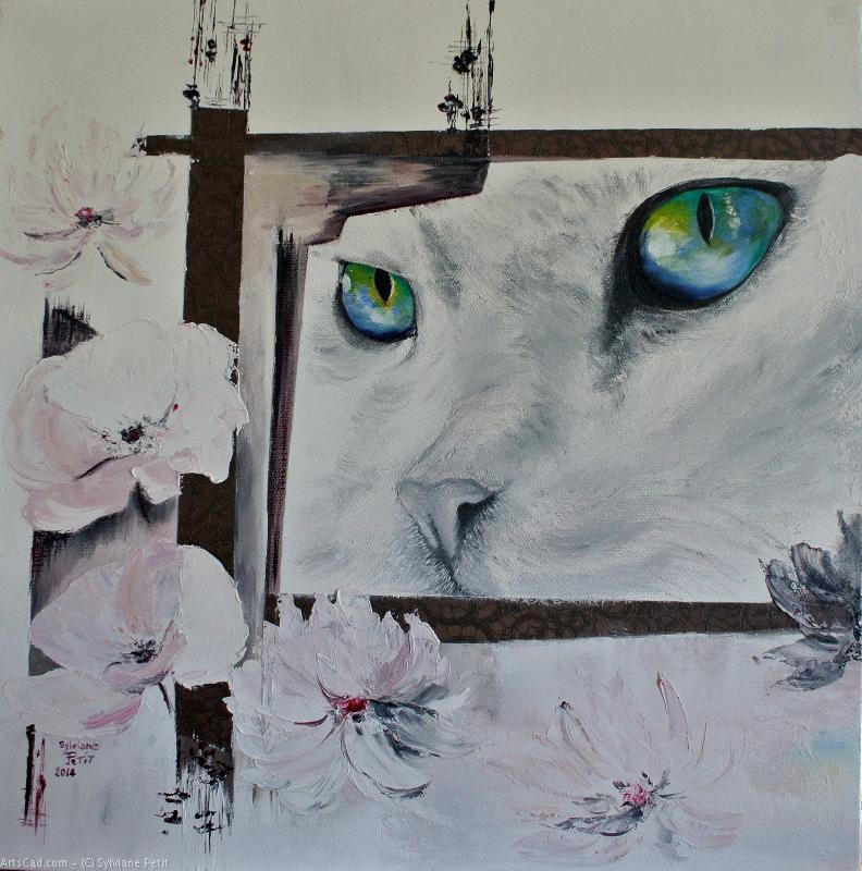 Oeuvre >> Sylviane Petit >> CHAT AUX YEUX VERTS