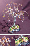 Sal Villano Wire Tree Sculpture - perlé Saule  -   la Mini  fil  Arborescence  sculpture