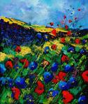 Pol Ledent - red and blue poppies