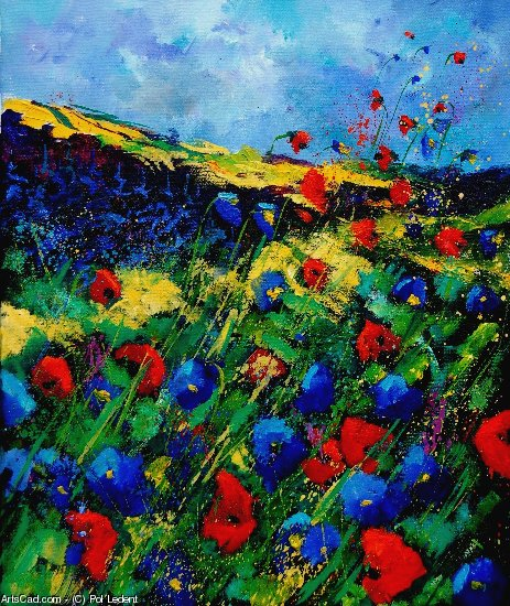 Oeuvre >> Pol Ledent >> red and blue poppies