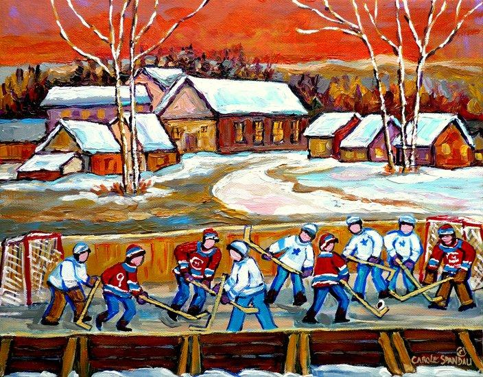 Oeuvre carole spandau paysage quebecois patinoire d for Patinoire exterieur montreal