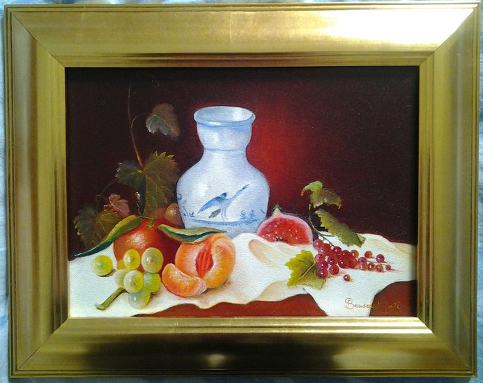 Oeuvre >> Joelle Beuscart >> Assortiment de fruits et son pot en faience