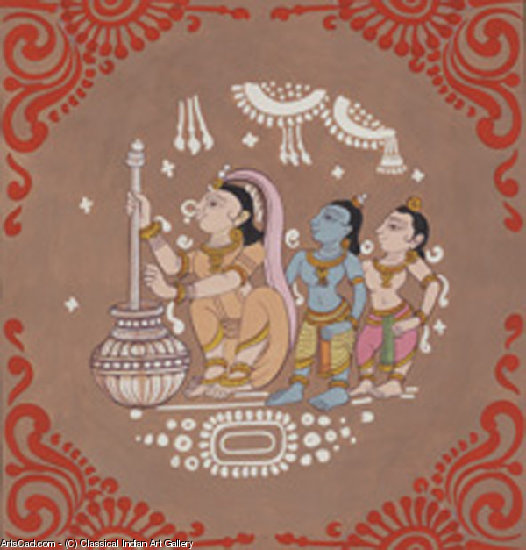 Oeuvre >> Classical Indian Art Gallery >> Barattage pour fabriquer du beurre