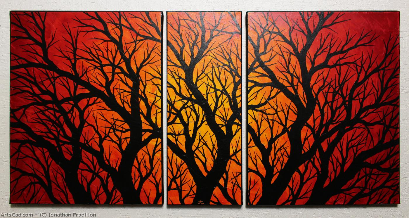 Oeuvre >> Jonathan Pradillon >> Triptyque silhouettes branchages