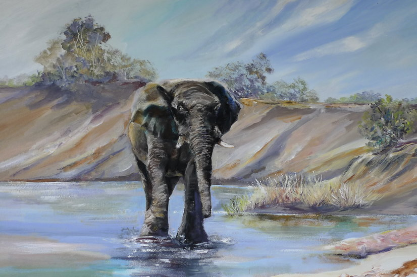 Oeuvre >> Inspirational Paintings >> Elephant Wade