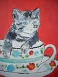 Marie Christine Legeay - CHAT - CAT IN THE BOWL