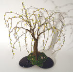 Sal Villano Wire Tree Sculpture - perlé sur noirs  baser  -   fil  Arborescence  sculpture
